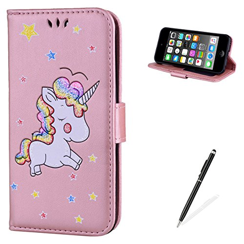 MAGQI For iPod Touch 5/6 Case,Many Color Unicorn Pattern Design Cover with Flip Book Style Shell Magnetic Closure Stand Function Protective PU Leather Wallet - Pink
