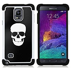 For Samsung Galaxy Note 4 SM-N910 N910 - BLACK WHITE SKULL MINIMALIST SHADES Dual Layer caso de Shell HUELGA Impacto pata de cabra con im??genes gr??ficas Steam - Funny Shop -