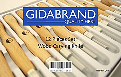 Wood Carving Tools   Highly Durable SK7 Carbon Steel   12 Sculpting Knives for Wood, Pumpkin, Soap, Rubber   Beautiful Box, Ready for Gift