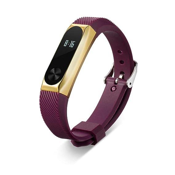 Bestow Xiaomi Mi Band 3 Moda eca Acero Inoxidable Banda de Pulsera de Metal Reloj Inteligente Electronics Gadgets Reloj de Pulsera(Negro) (Tamaño Libre, ...