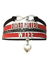 DOLON Infinity Love Firefighter Wife Bracelet Heart Charm Braided Leather Gift