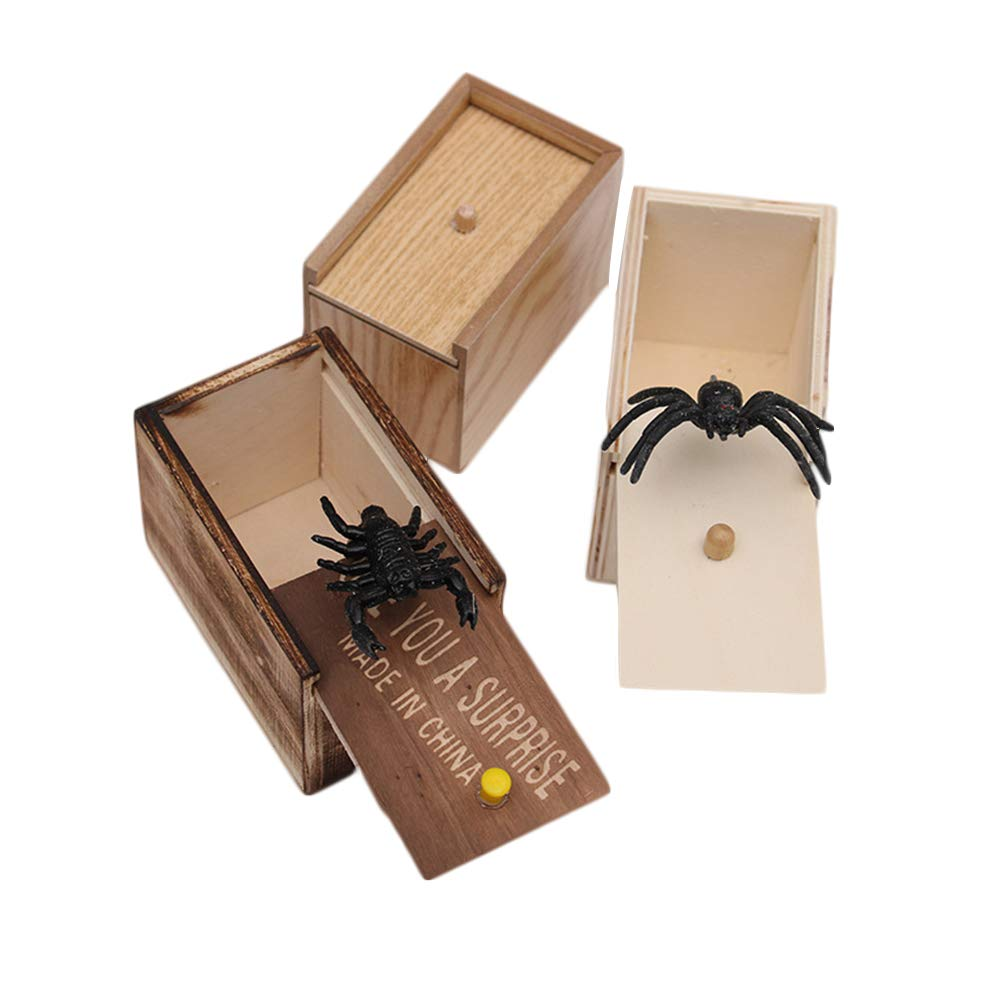 LuckCome Wooden Prank Spider Scare Box Handcrafted Surprise Joke Boxes Toy Case 3Pack