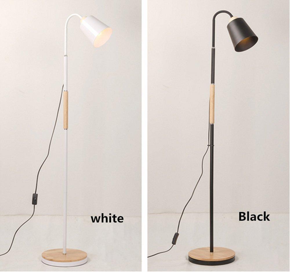 Elinkume Floor Lamp, Sheer Shade Feather Floor Lamp ,Stand Light For Bedroom Living Room, SimpleModernStyle(6W, White,Pedal Switch,Warm Light E27 Lamp Holder)