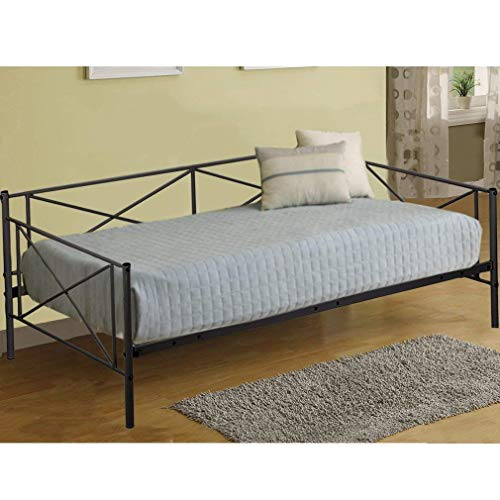 - Daybed Frame Metal Platform Bed Mattress Foundation Twin Heavy Duty Steel Slats Box Spring and Foam Mattress Set for Living Room