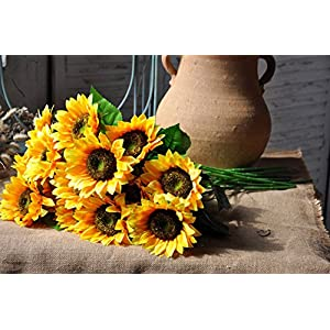 Charmly Artificial Sunflowers 5 Pcs Long Stem Fake Sunflowers Artificial Silk Flowers for Home Hotel Office Wedding Party Garden Decor 23.5'' High 5