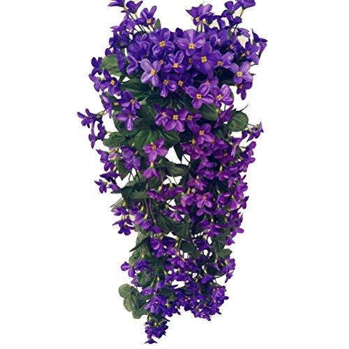 VORCOOL 4petals Artificial Flower Hanging Flowers Violet Simulation Vine Wedding Home Decoration (Deep Purple)