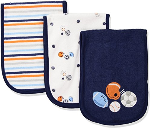 Gerber Baby Boys 3 Pack Terry Burp Cloth, Lil Athlete, One Size