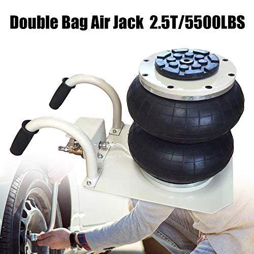 Pneumatic Air Jack, 2.5 Tons Double Bag Air Jack, Lifting Height Car Hub Jack, 12Inch 5500LBS Capacity Fast Lifting Action Fast Set Up on Frame Machine for Multiple Terrains ()