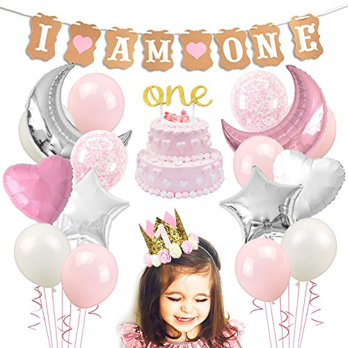 First Birthday 18' Foil Balloon - KREATWOW First Birthday Decorations Girl - 1st Birthday Girl Decorations with I AM ONE Banner Party Crown