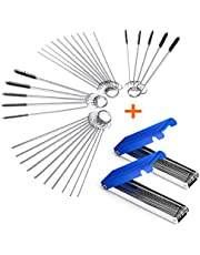 Set of 4 Carburetor Carbon Dirt Jet Remove Cleaner 26 Cleaning Wires Set + 20 Cleaning Needles + 10 Nylon Brushes Tool Kit for Motorcycle ATV Moped Welder Carb Chainsaw Spray Guns Torch Tips