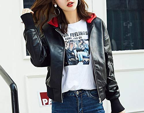 SED Printemps et Automne Manteau Veste Femme Court Paragraphe lache PU Petit Chaperon Rouge BF Veste de Moto,Noir,M