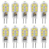 KINDEEP G4 LED Bulb, 1.5W (20W Equivalent), AC/DC 12Volt, Bi Pin Base, Daylight White 6000K, 10-Pack