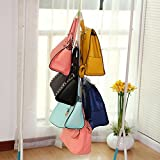 4+2 hanging purse organizer for closet Hanging Closet Organizer Purse Storage with Swivel Hanger ,Purses, Handbags, Satchels, Crossovers, Backpacks (Rack )