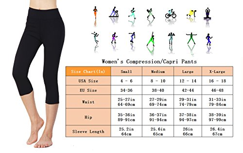 HAIVIDO Women Compression Running Capris 3/4 Length Non See Through Quick Dry Yoga Pants For Fitness, Gym Exercise