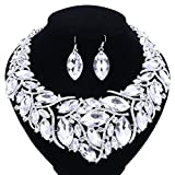 African Beads Jewelry Sets Women Bridal Crystal Statement Necklace Earring Jewelry Sets (Silver White)