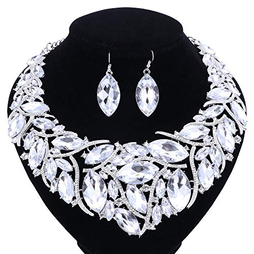 (African Beads Jewelry Sets Women Bridal Crystal Statement Necklace Earring Jewelry Sets (Silver White))