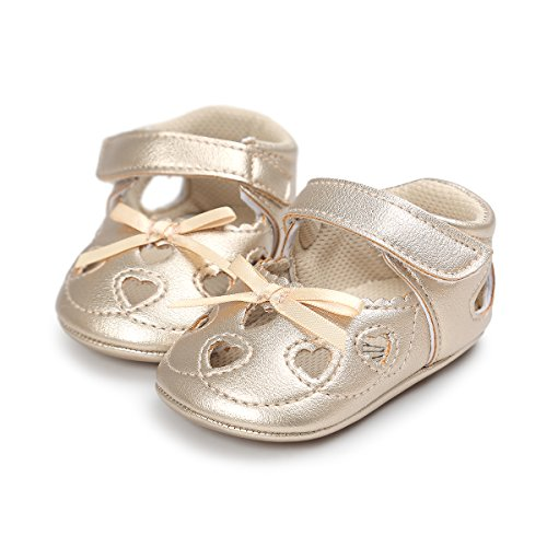 Meckior Infant Baby Girls Sandas Summer Soft Leather No-Slip Princess Shoes (0-6months, A-Gold) - Gold Baby Bootie