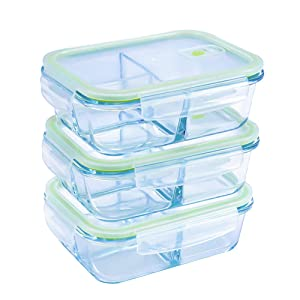 Rectangular Glass Meal Prep Containers 3 Compartment-3 Pack(36 oz),Vented Snap Locking Lids,Airtight & Leak Proof Food Storage Containers-Microwave and Freezer Safe,BPA-FREE