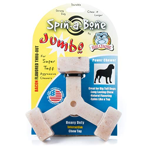 Bullibone Jumbo Spin-a-Bone- Bacon Flavor Nylon Dog Chew Toy Aggressive Chewers, Triggers Natural Instincts Improves Oral Health