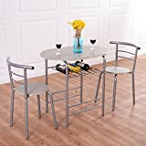 3 PCs Dining Set Table 2 Chairs Bistro Pub Home Kitchen Breakfast Furniture