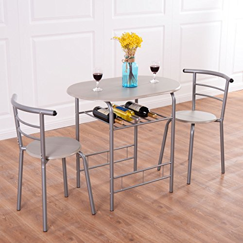 3 PCs Dining Set Table 2 Chairs Bistro Pub Home Kitchen Breakfast Furniture (Dining Long 10 Extra Table Seats)