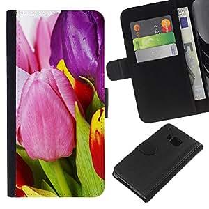 Planetar® Modelo colorido cuero carpeta tirón caso cubierta piel Holster Funda protección Para HTC One M9 ( tulips flowers varicoloured )