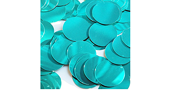Round  Flat Sequin 18mm Top Hole Teal Turquoise Metallic Made in USA Couture paillettes