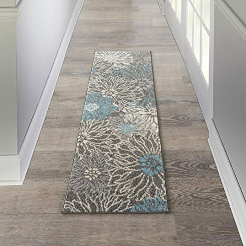 Nourison PSN17 Passion Floral Chic Charcoal/Blue Area Rug Runner (2' x 6'), 1'10