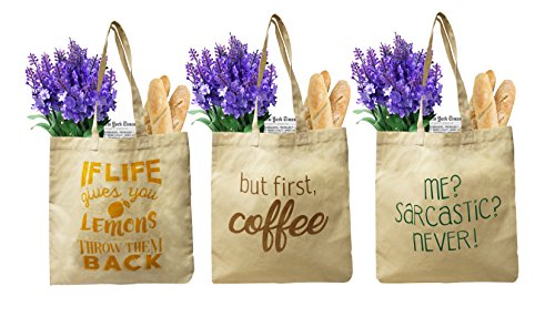- Earthwise Organic Cotton Reusable Grocery Bag Shopping Totes w/3 Cute and Funny Prints (3 Pack)