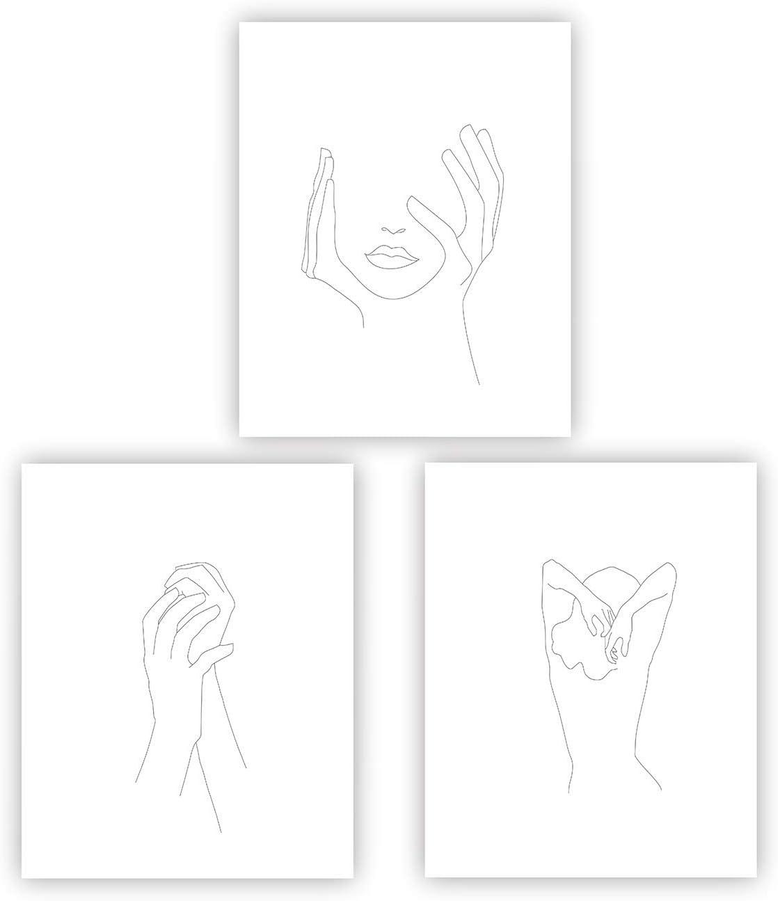 Hands On Face Feminine Hands Print Poster Black And White Sketch Art Line Drawing Decor Minimal Art Simple Fashion Woman Art Living Room Bedroom Home Decor (UNFRAMED)