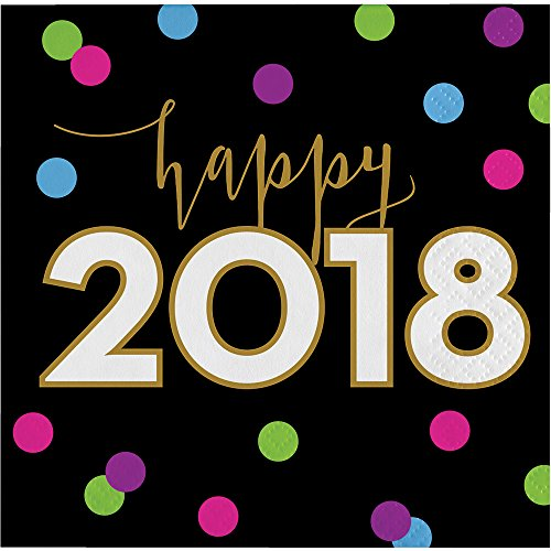 New Year Beverage Napkins (Creative Converting 324188 192-Count Beverage Paper Napkins, New Year Cheers)
