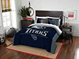 Tennessee Titans - 3 Piece FULL / QUEEN Size Printed Comforter Set - Entire Set Includes: 1 Full / Queen Comforter (86'' x 86'') & 2 Pillow Shams - NFL Football Bedding Bedroom Accessories