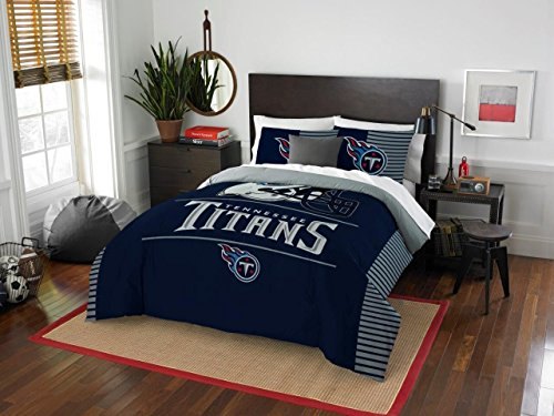 Tennessee Titans - 3 Piece FULL / QUEEN Size Printed Comforter Set - Entire Set Includes: 1 Full / Queen Comforter (86