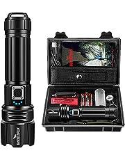 Shadowhawk Zaklamp Led 10.000 lumen, extreem heldere zaklamp, USB oplaadbaar, tactische zaklampen met holster CREE XHP70.2, IP67 waterdicht, 5 lichtmodi voor kamperen, wandelen, noodgevallen (26650 accu)