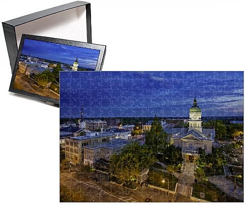 Photo Jigsaw Puzzle of Morning twilight over city hall and town of Athens, Georgia, USA (Athens Tower)