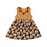 Baby Girl Halloween Costume Dress Kids Cute Sleeveless Pumpkin Tutu Funny Dresses Toddler (Orange, 1-2t)