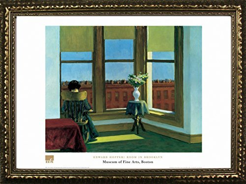 Framed Room in Brooklyn by Edward Hopper 24x32 Art Print Poster Famous Painting Still Life Looking Out Window from Museum of Fine Arts Boston Collection