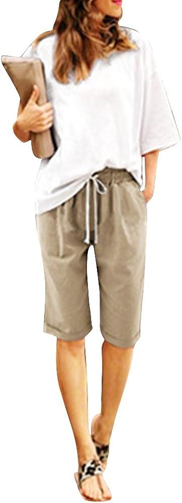 Mengmiao Donna Pantaloncini Bermuda Puro Colore Casual Comode Sciolto Taglie Forti Shorts
