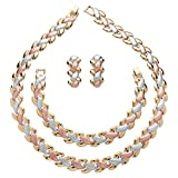Tri-Tone Gold, Rose and Silvertone Interlocking-Link Necklace, Bracelet and Earrings Set 17""