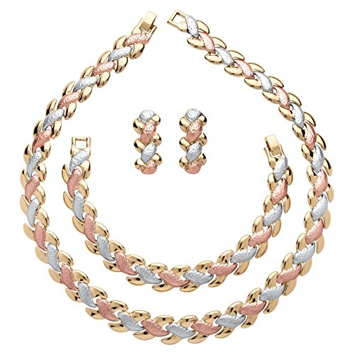 Three Tone Necklace - Tri-Tone Necklace, Drop Earrings Bracelet Three Piece Braided Link Set, 17