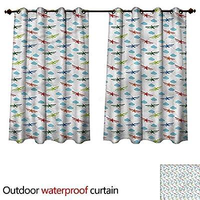 cobeDecor Airplane Outdoor Curtain for Patio Colorful Retro Travel