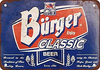 Burger Classic Beer Vintage Look Reproduction Metal Tin Sign 8X12 Inches