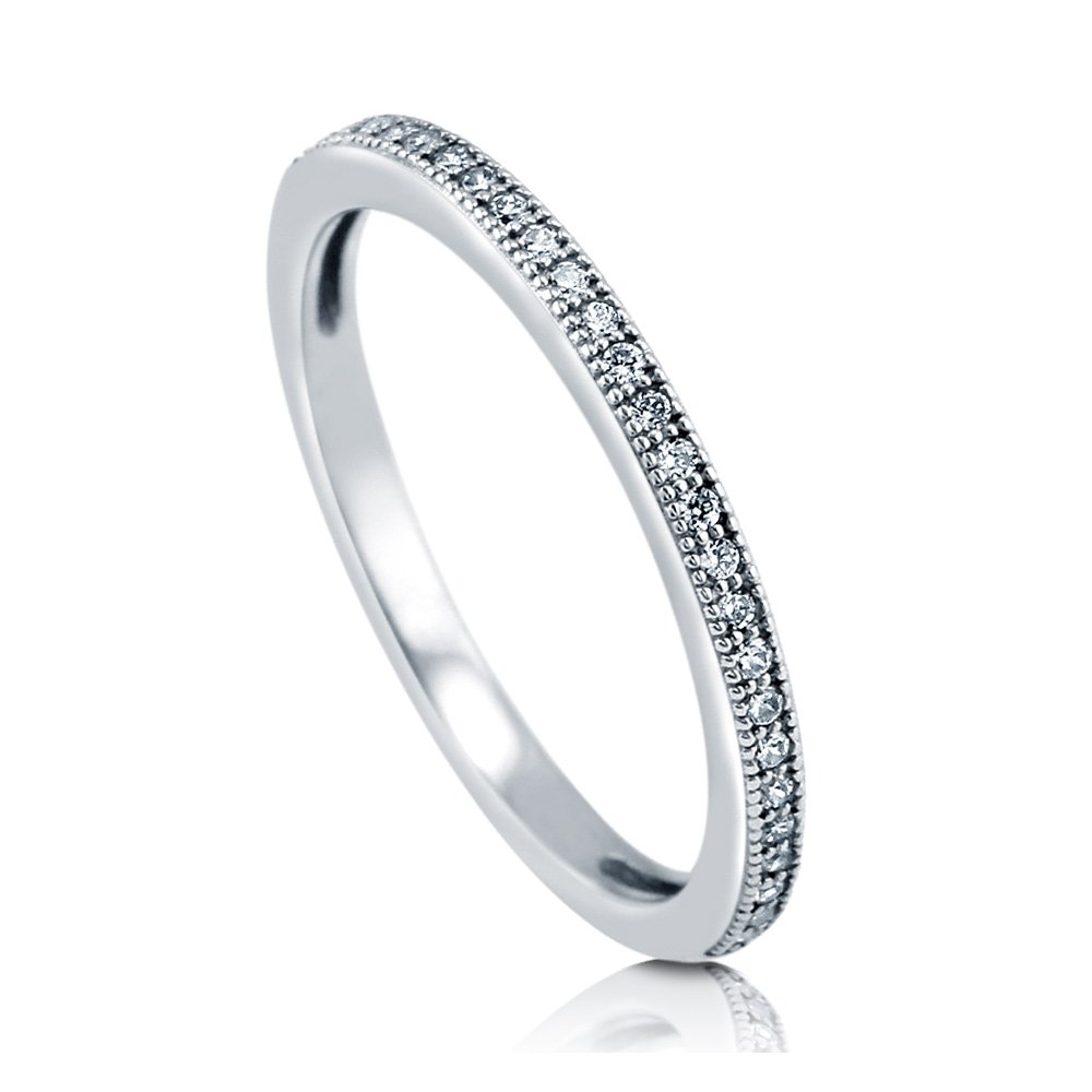 BERRICLE Rhodium Plated Sterling Silver Cubic Zirconia CZ Anniversary Half Eternity Band Ring r782