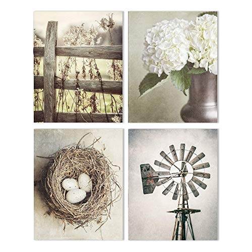 Farmhouse Shabby Chic Set of 4 Wall Art Prints (Not Framed). 5x7, 8x10, 11x14, or 16x20. Tan, Beige and Soft Gold Rustic Fence, Flowers, Nest and Windmill. (FBM4)
