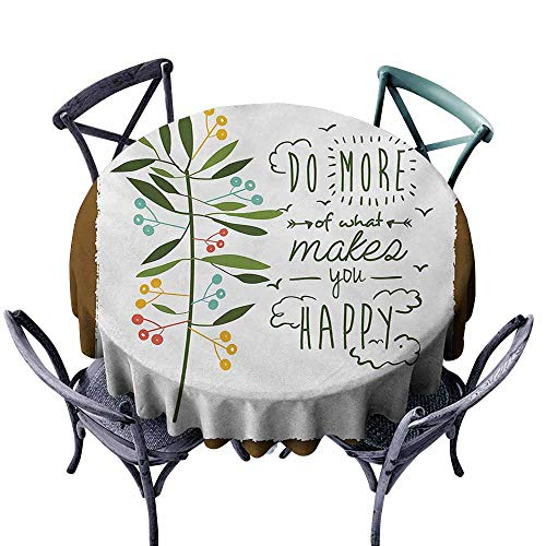 VIVIDX Round Tablecloth,Quotes,Progress Ideas Design Ideology Mindfulness Olive Fruits Flying Birds Leaf,for Banquet Decoration Dining Table Cover,40 INCH,Forest Green Brown]()