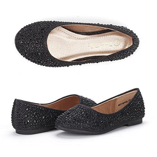 Dream Pairs Little Kid Muy-Shine Black Glitter Girl's Mary Jane Ballerina Flat Shoes - 3 M US Little Kid
