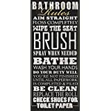 "Black Bathroom Rules Typography Print by Jim Baldwin; 1-8x18"" Paper Poster"