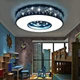 Ceiling light Children's room led Star lights boy room girl bedroom Warm Simple Round ( Color : Blue , Size : C(with remote control) )