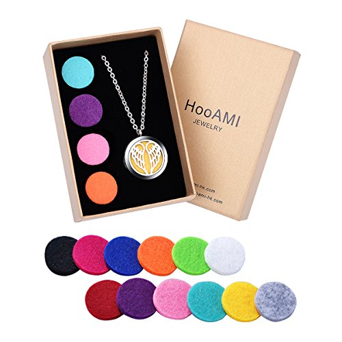 "HooAMI Aromatherapy Essential Oil Diffuser Necklace - Silver Angel Wing Stainless Steel Locket Pendant,24"" Chain and 12 Refill Pads"