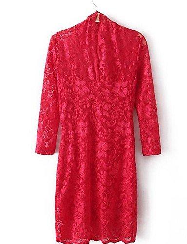 PU&PU Robe Aux femmes Gaine Simple,Couleur Pleine Col en V Au dessus du genou Polyester , red-m , red-m